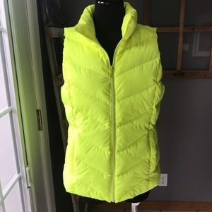 Lands End Bright Yellow Down Puffer Vest S